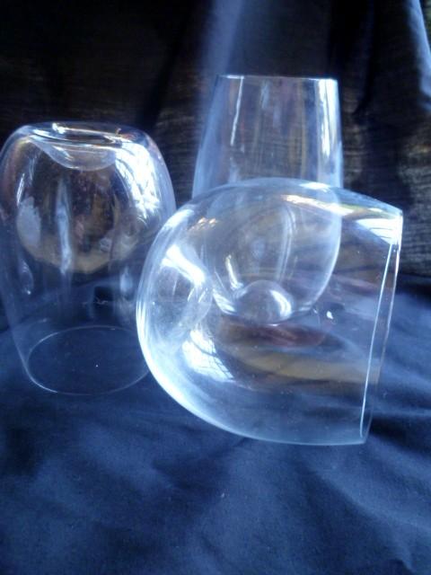 Contemporary Dartington Stemless glasses with dimple base - Riedel 'O' like P1050112
