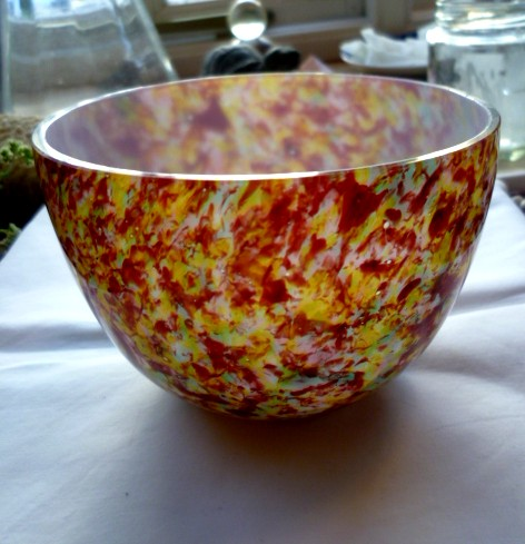 Chintz white cased glass bowl 8 cm tall no marks use marks on base P1050321