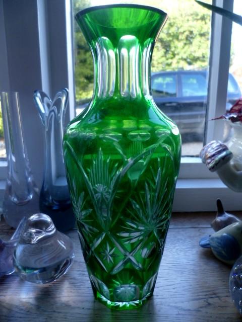 Czech Bohemia green cut glass vase P1050910