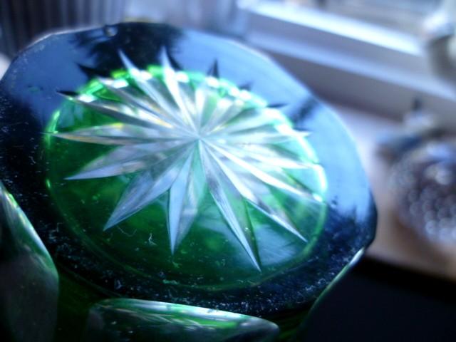 Czech Bohemia green cut glass vase P1050911