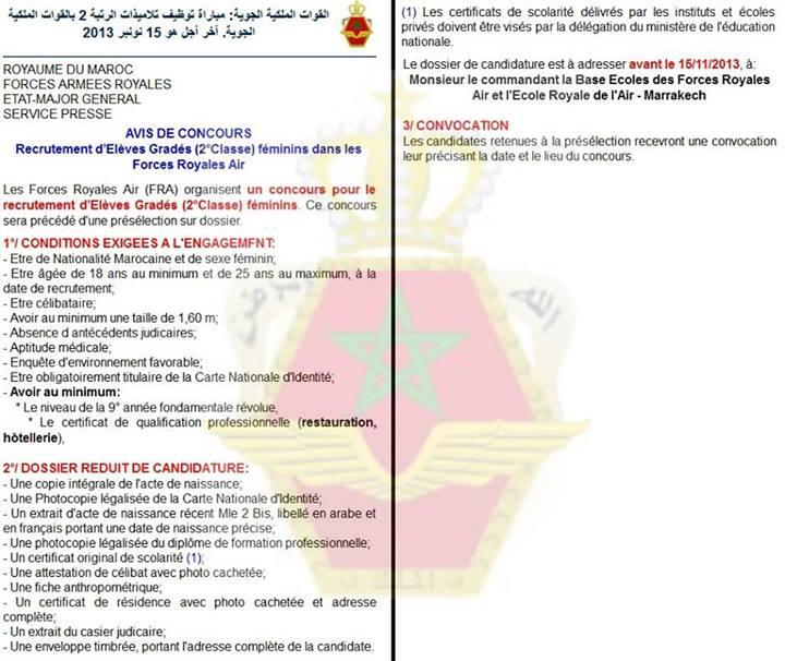 Forces Royales Air : Concours pour le recrutement èleves Gradés (2°Classe) féminins dans les Forces Royales Air avant le 15 NOVEMBRE 2013 Air10