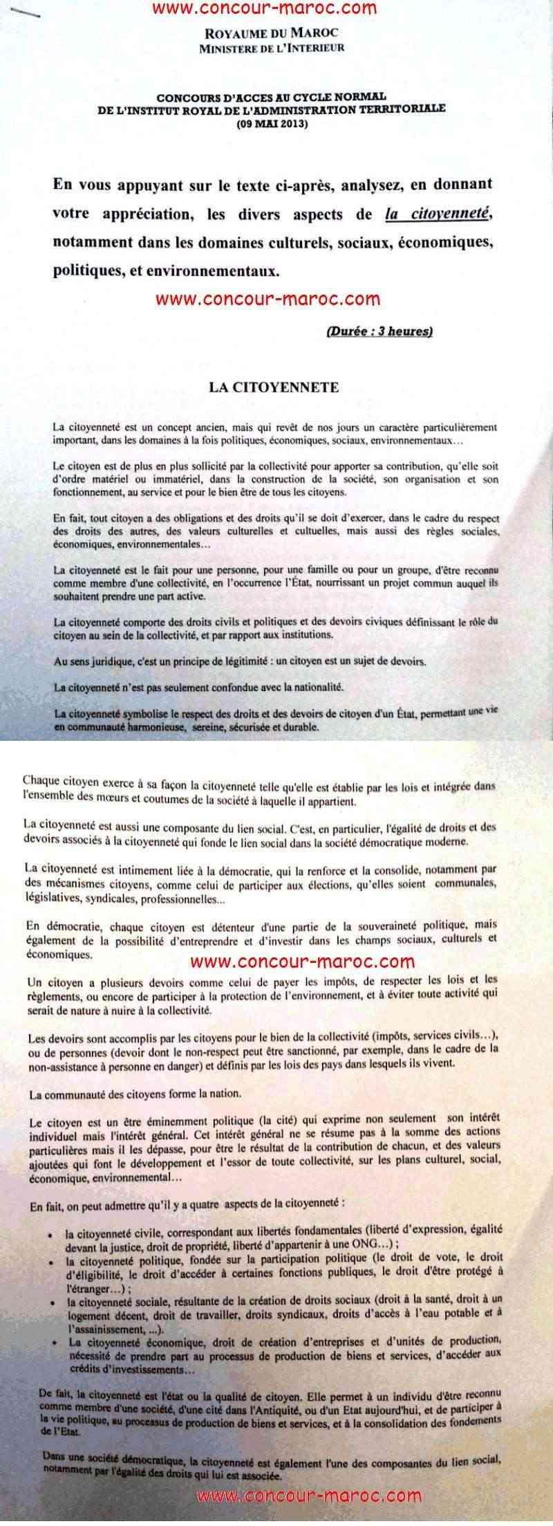 نماذج إختبار كتابي باللغة العربية و الفرنسية لمباراة ولوج السلك العادي للمعهد الملكي للإدارة الترابية دورة 09 ماي 2013 Concou58