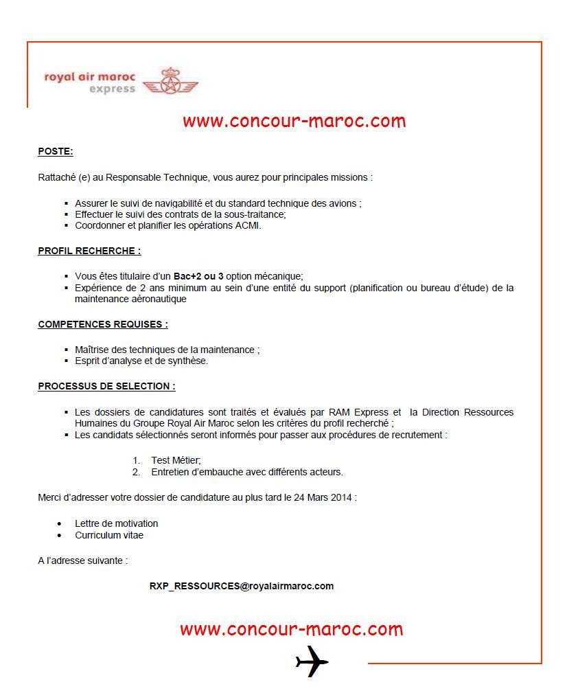الخطوط الملكية المغربية إكسبريس: مباراة لتوظيف تقني صيانة (1 منصب) آخر أجل لإيداع الترشيحات 24 مارس 2014 Concou64