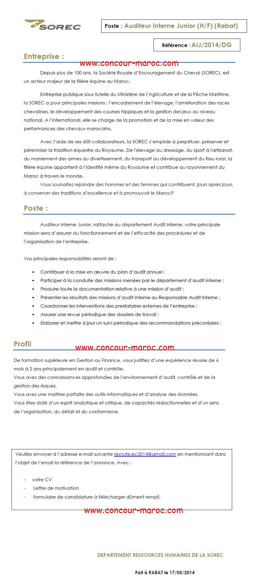 الشركة الملكية لتشجيع الفرس : مباراة لتوظيف مدقق داخلي (1 منصب) آخر أجل لإيداع الترشيحات 1 ابريل 2014 Concou79
