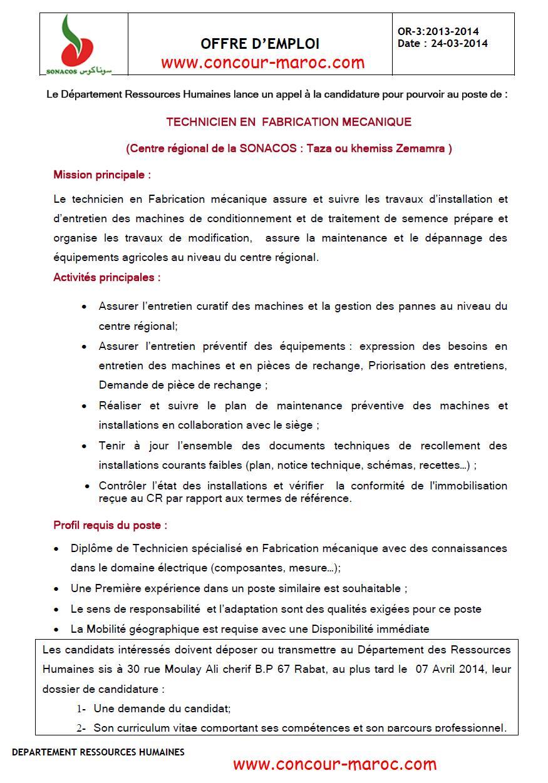 """الشركة الوطنية لتسويق البذور """"سوناكوس"""" : مباراة لتوظيف تقني متخصص في الصناعة الميكانيكية (1 منصب) آخر أجل لإيداع الترشيحات 7 ابريل 2014 Concou85"""