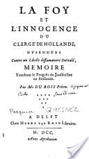 La querelle de l'Unigenitus à Fontenay de Lenain de Tillemont à l'abbé Lebeuf Hollan10