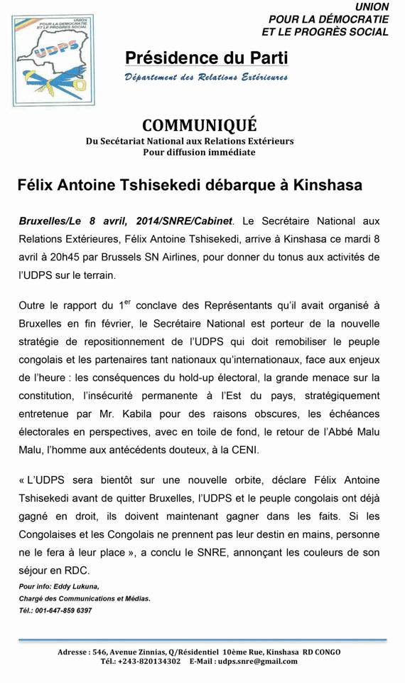 UDPS : FÉLIX ANTOINE TSHISEKEDI DÉBARQUE A KINSHASA 10154910