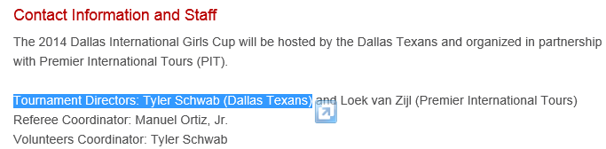 4th annual Dallas International Girls Cup 2014 Accepted Teams Texans12