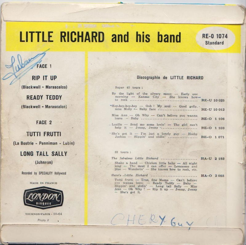 Little Richard  - Tutti Frutti/Long Tall Sally/Rip it UP/ Ready Teddy - EP - London/Speciality records 235