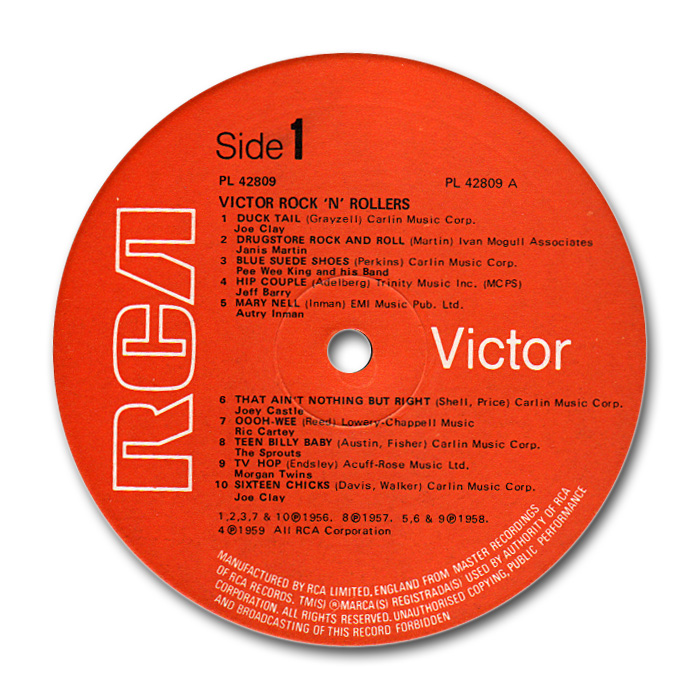 RCA Rock 'n' roller - various fifties rock 'n' roll & rockabilly to RCA or Vik records - 33 rpm lp Labela10