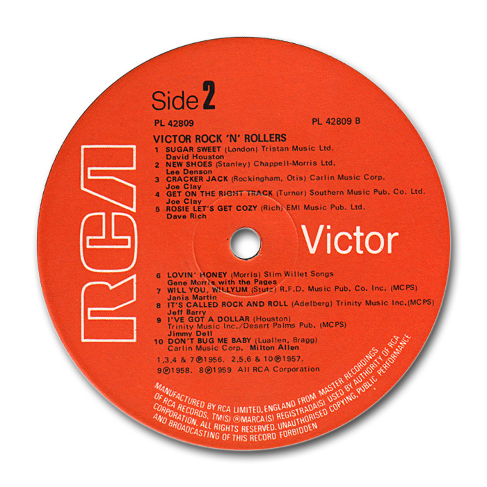 RCA Rock 'n' roller - various fifties rock 'n' roll & rockabilly to RCA or Vik records - 33 rpm lp Labelb10