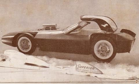 Show Car Old Post Cards - anciennes cartes postale de show car début sixties Postca19