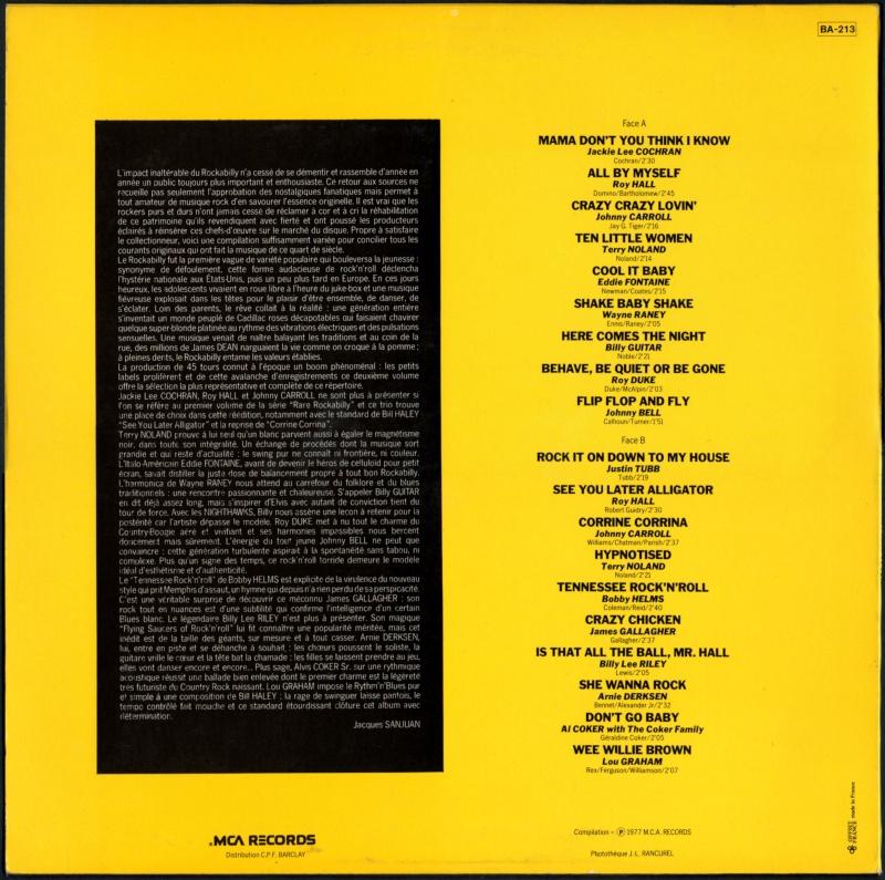 Rare Rockabilly - 33t - mca records - Various 1950's Rockabilly to Decca, Brunswick & Coral records Va-rar11