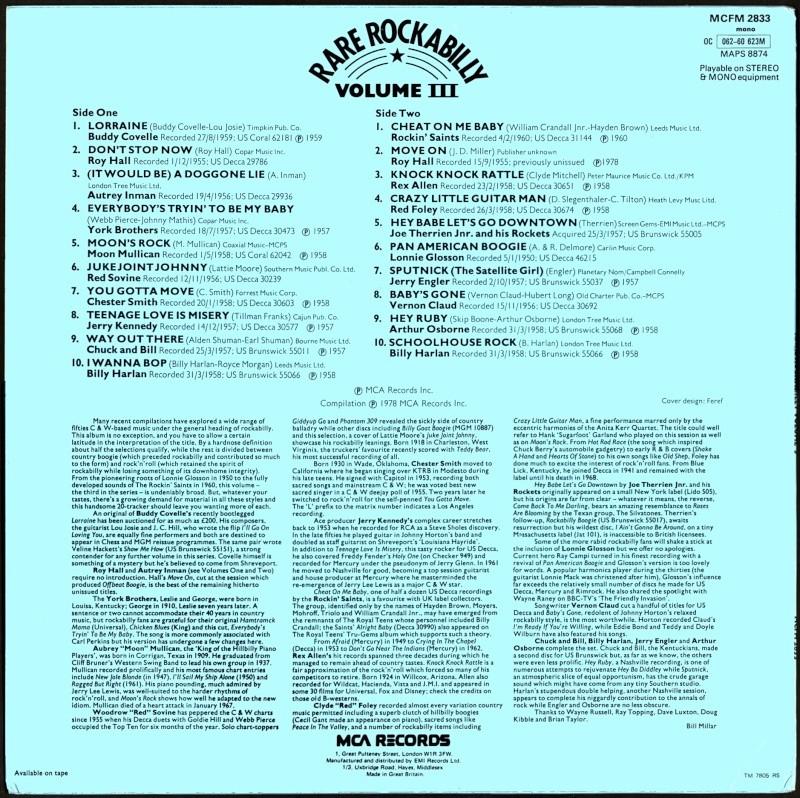 Rare Rockabilly - 33t - mca records - Various 1950's Rockabilly to Decca, Brunswick & Coral records Va-rar14