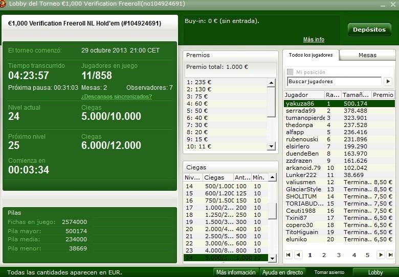 Partypoker.es/bwin.es 29/10/2013 Torneo 1000verificacion  Captur10
