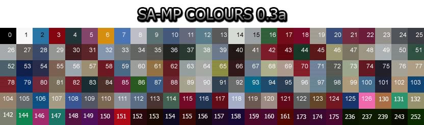 sa mp color car ids colorcar