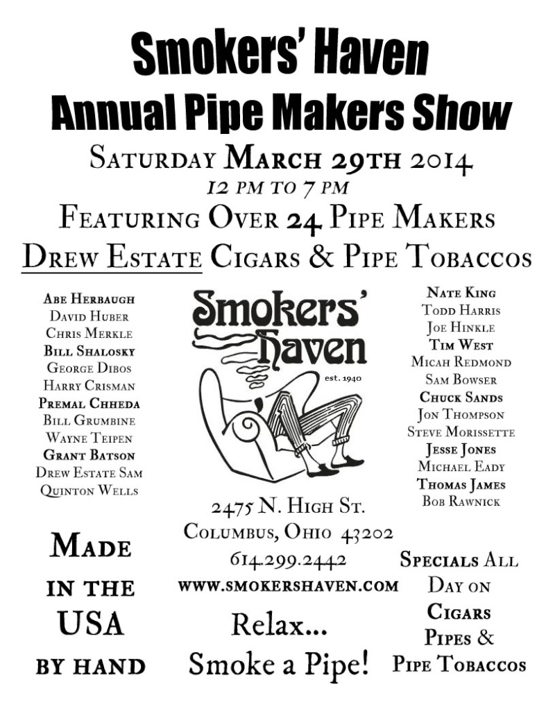 Smokers' Haven's Annual Pipe Makers Show  This Sat 3/29 Pipema10