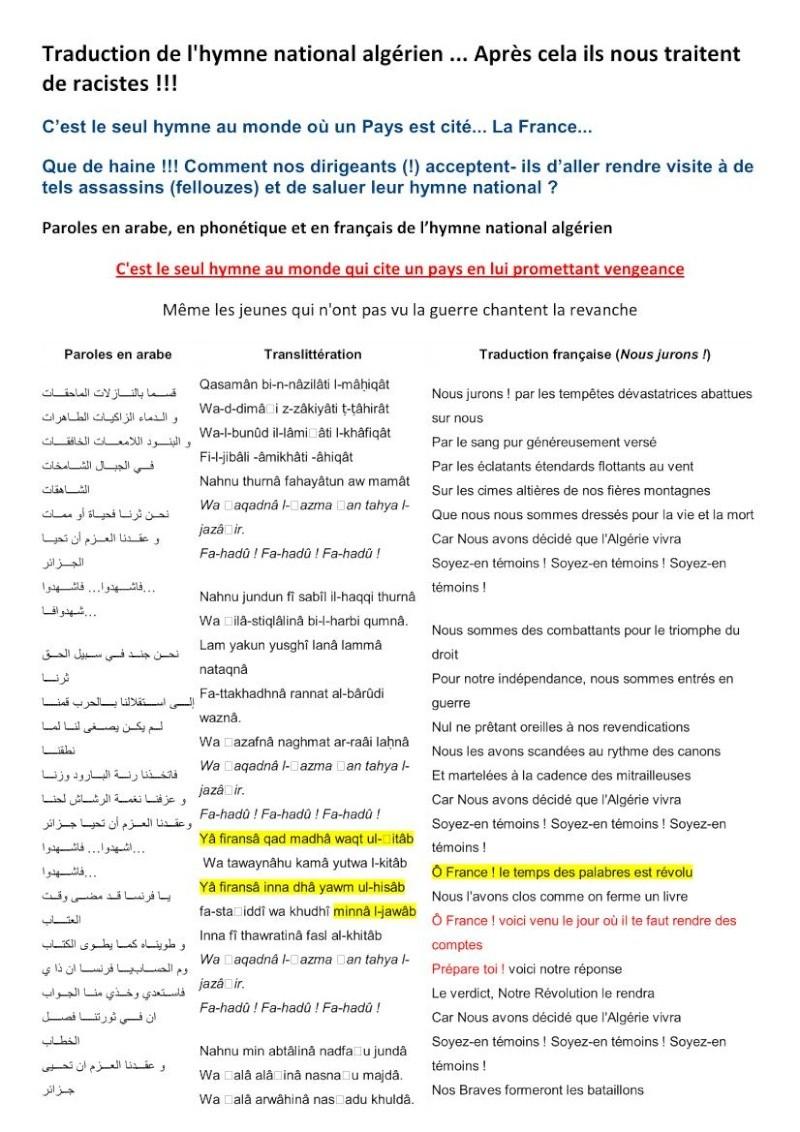 TRADUCTION DE L'HYMNE ALGERIEN - ODIEUX MEPRIS  DE TOUS NOS SOLDATS MORTS PENDANT LA GUERRE D'ALGERIE!!!!! Hymne_10