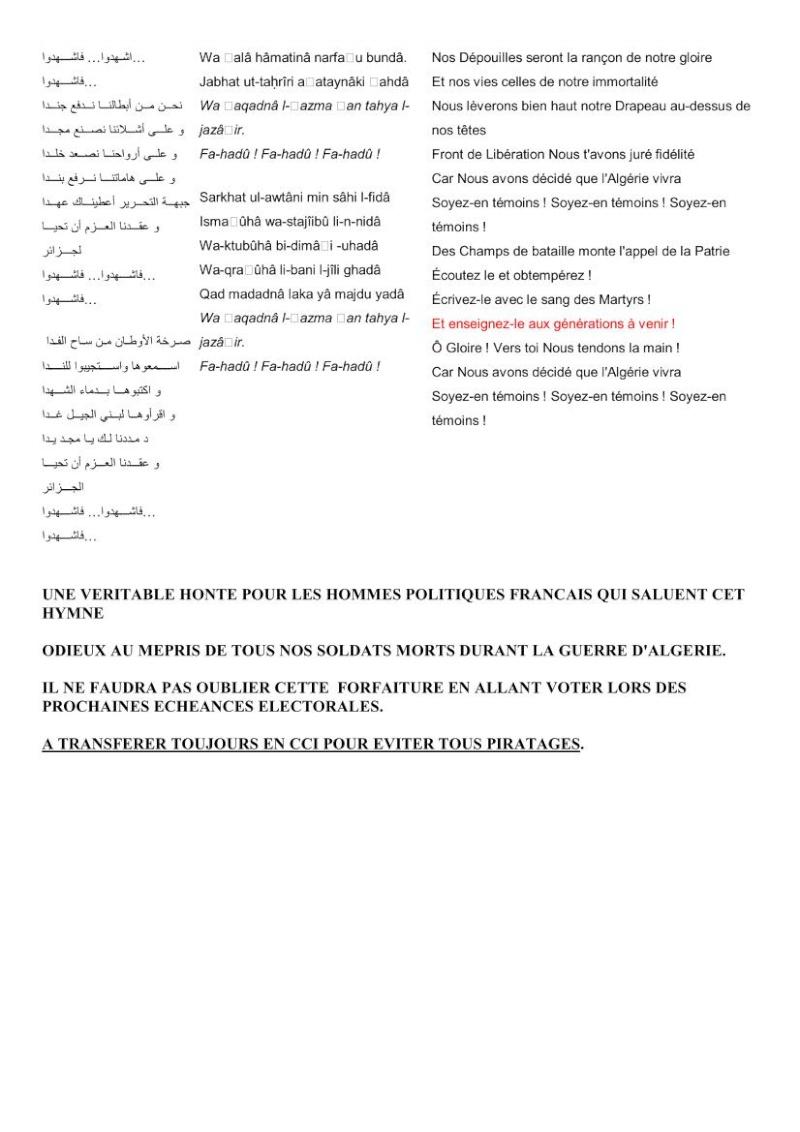 TRADUCTION DE L'HYMNE ALGERIEN - ODIEUX MEPRIS  DE TOUS NOS SOLDATS MORTS PENDANT LA GUERRE D'ALGERIE!!!!! Hymne_11