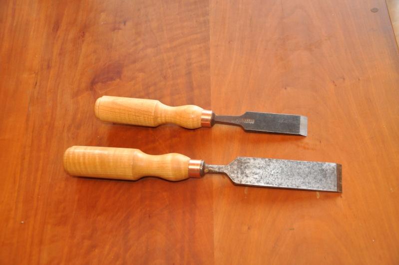 Tournage d'un manche de ciseau à bois munie d'une soie  ( turning a handle for a tang type chisel) 00110