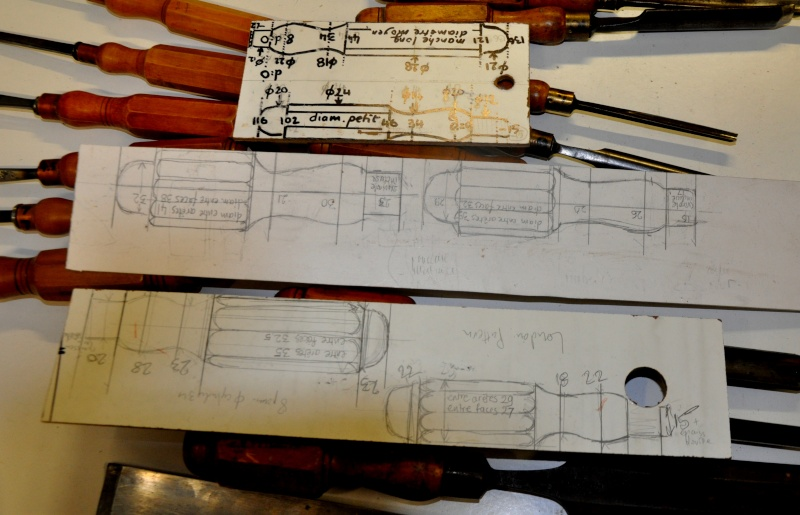 Tournage d'un manche modele londonien en buis. Making  a London pattern boxwood  chisel handle. London11