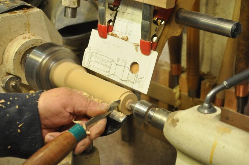 Tournage d'un manche modele londonien en buis. Making  a London pattern boxwood  chisel handle. London16