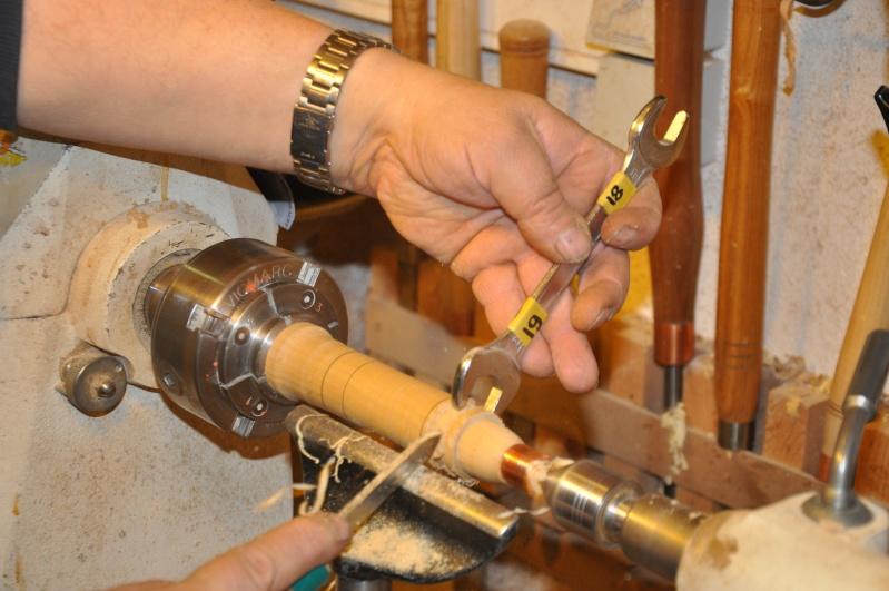 Tournage d'un manche modele londonien en buis. Making  a London pattern boxwood  chisel handle. London38