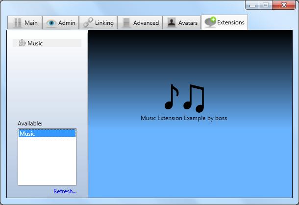Exemplo de extensão anúncio de musica [Code source] Sb0t11