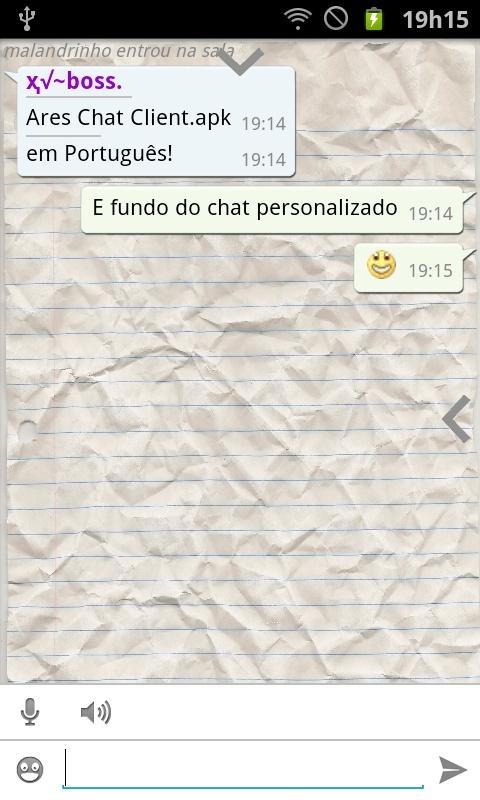 [Android] Ares Chat Client em Português e fundo de chat personalizado Sc201310