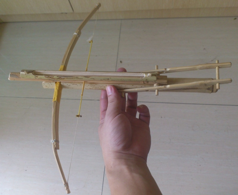 My personal bamboo crossbow in all:  Cho-Ko-Nu, Primitive crossbow, New crossbow trigger 2013-011
