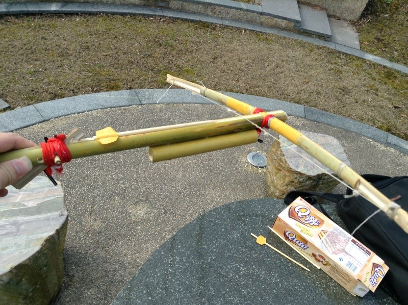 My personal bamboo crossbow in all:  Cho-Ko-Nu, Primitive crossbow, New crossbow trigger Img_0411