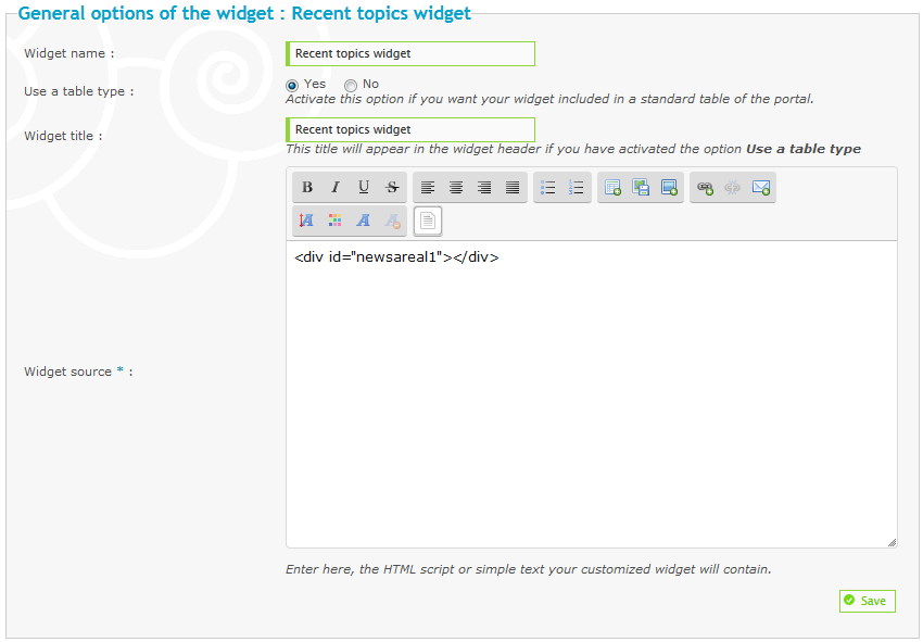 Widget: Recent topics of a specific sub-forum Tuto210