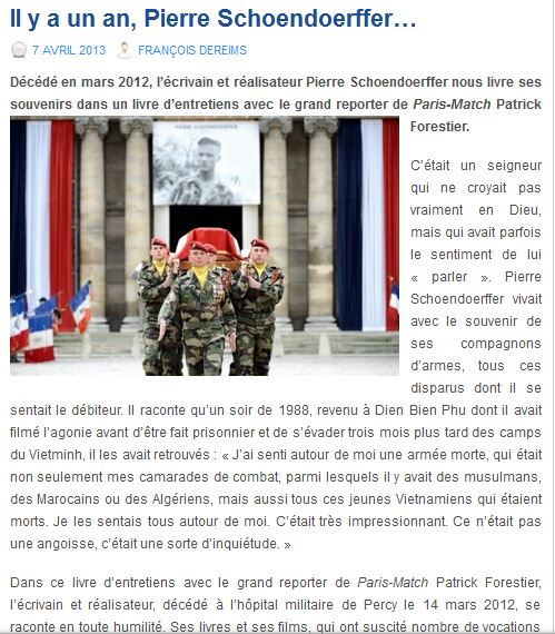Pierre Schoendoerffer, il y a un an nous quittait Schoen10