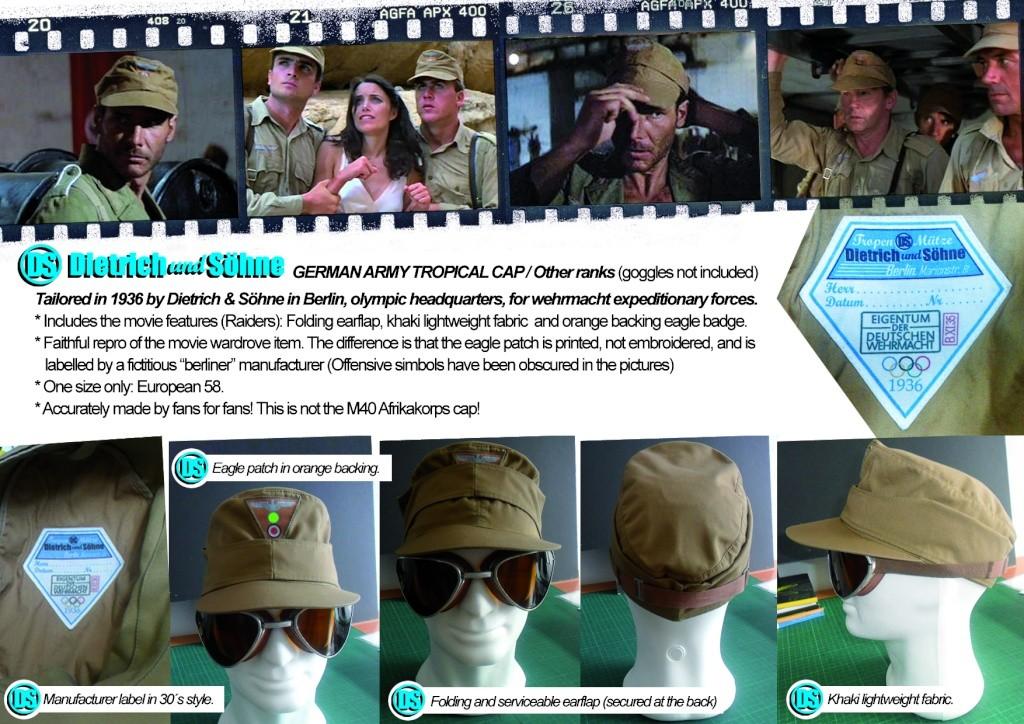 """Indiana Jones"""" Raiders of the lost ark""""German soldier cap. Film Prop.Replica!LTD ED to 10! Tropen11"""
