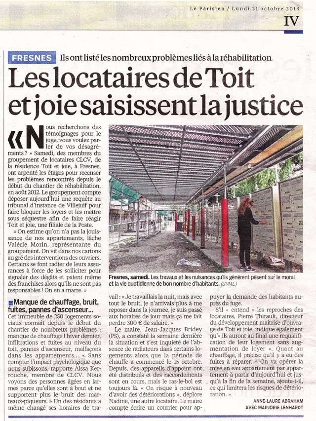 ARTICLE DU PARISIEN 21 OCTOBRE 2013 Articl10