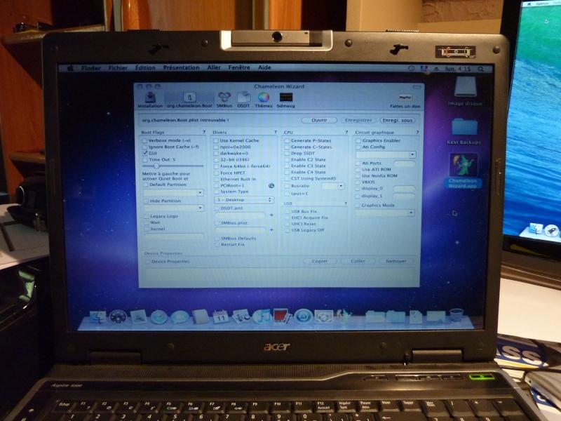 TUTO Snow Leopard avec clé USBBootabe de Chriss1111 Acer Aspire9300 P1050610