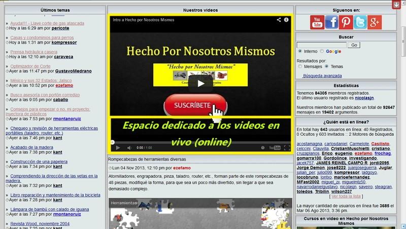 Transmisiones de video en vivo (online) en el Foro Imagen44