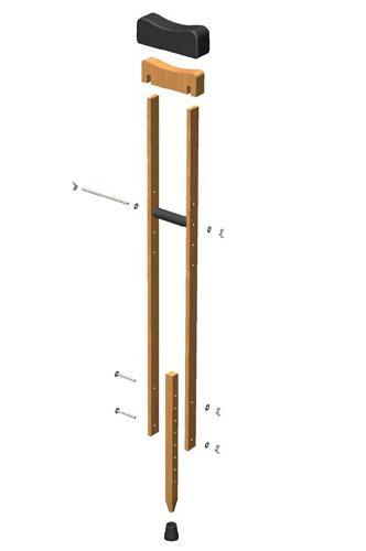 Dispositivos de ayuda a la Discapacidad - Planos de muletas de madera Muleta10
