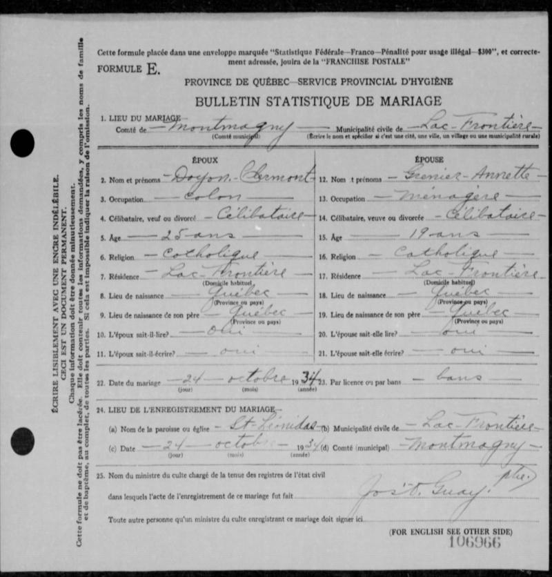 Clermont Doyon et Annette Grenier 34-10610