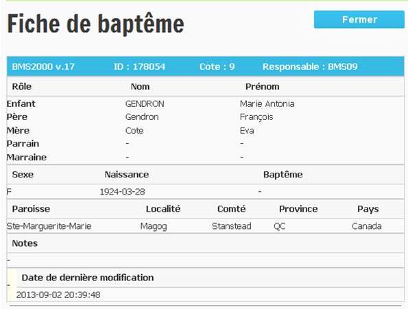 Famille Gendron, Otot Baptam10