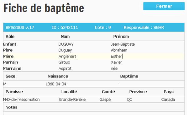 Duguay Jean-Baptiste marié à Elizabeth Lelièvre Baptam18