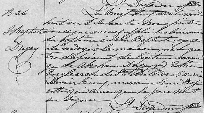 Duguay Jean-Baptiste marié à Elizabeth Lelièvre Jean-b17