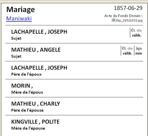 Joseph Langlois dit Lachapelle & Louise Lisette Morin  Lachap10