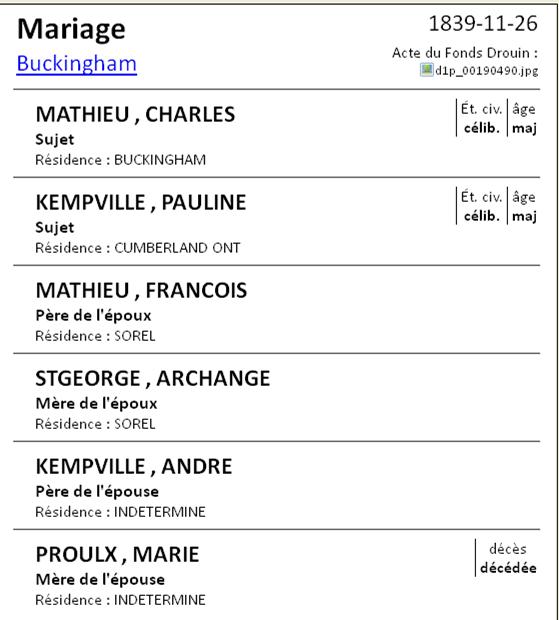 Joseph Langlois dit Lachapelle & Louise Lisette Morin  Mathie10