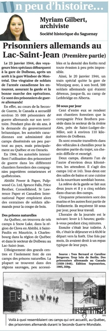 Prisonniers Allemands au Lac-St-Jean, première partie -  (PAR DENISE PELLETIER MICHAUD) Prison11