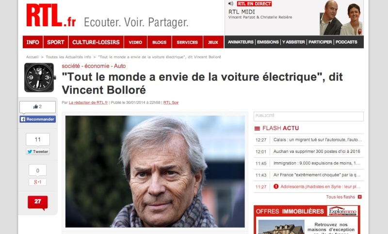 interview Vincent Bolloré sur RTL Rtl10