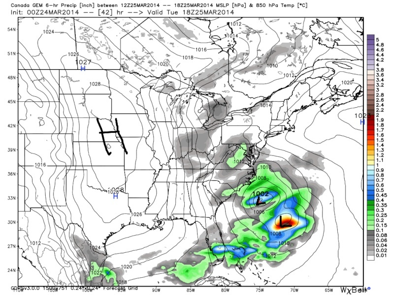 March 25th Glancing Blow Storm, 1st Call Snow Map - Page 2 Cmc_fi13