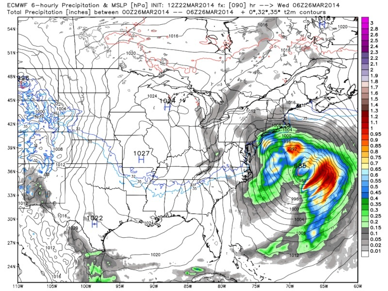 March 25th Glancing Blow Storm, 1st Call Snow Map - Page 2 Euro_j10