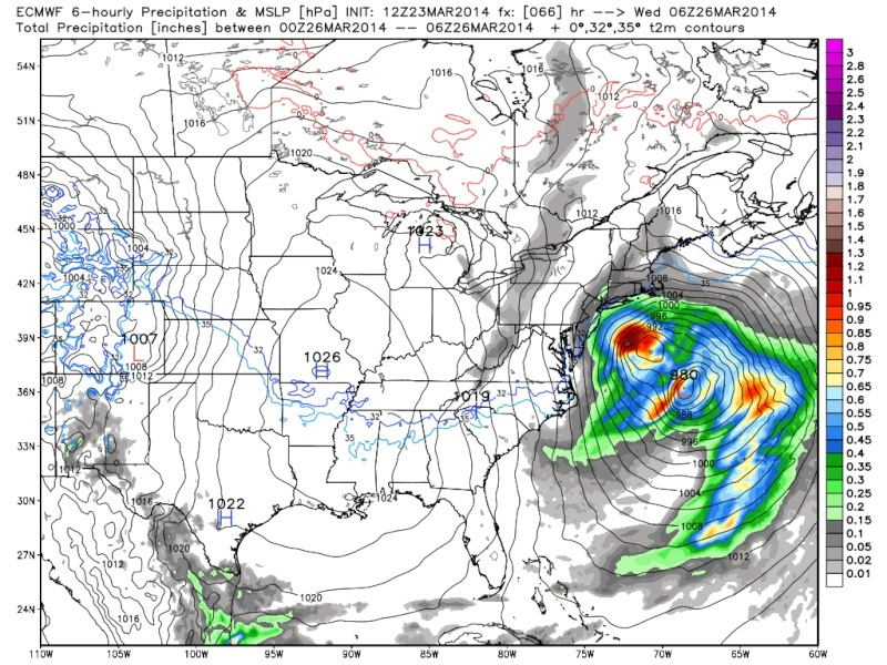 March 25th Glancing Blow Storm, 1st Call Snow Map - Page 2 Euro_j11