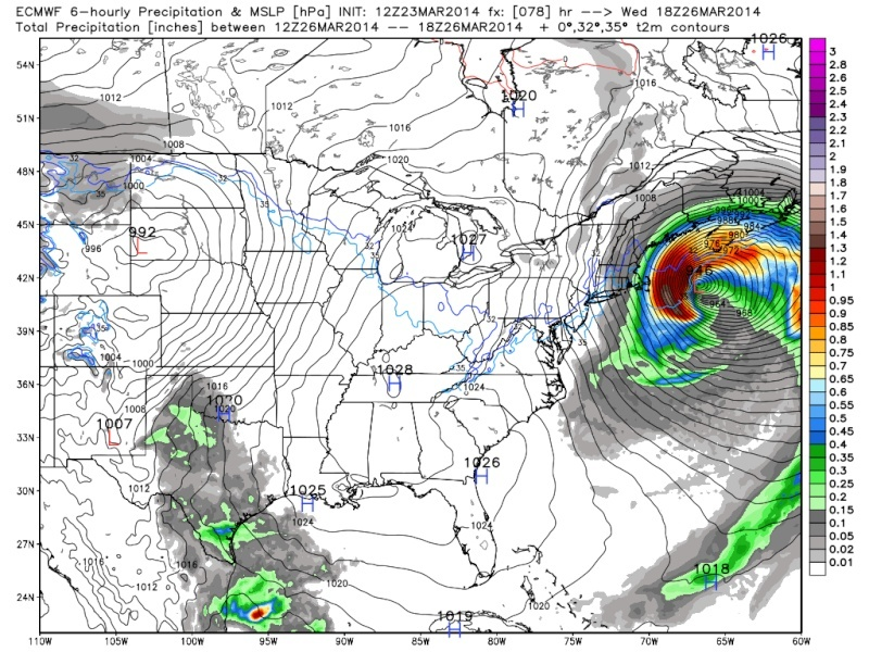 March 25th Glancing Blow Storm, 1st Call Snow Map - Page 2 Euro_j13